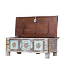 Worley Reclaimed Wood Brass Accent Traditional Rustic Storage Trunk