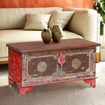 Paauilo Reclaimed Wood Brass Accent Rustic Storage Trunk