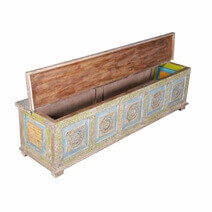 Ralston Reclaimed Wood Handcarved Large Storage Trunk Chest