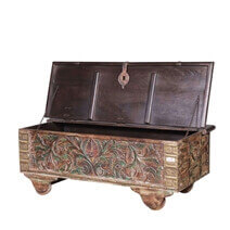 Talence Reclaimed Wood Hand Carved Antique Coffee Table Trunk