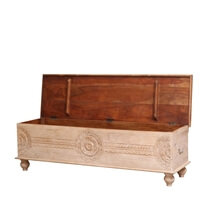 Osmond Rustic Reclaimed Wood Floral Hand Carved  Storage Trunk Chest