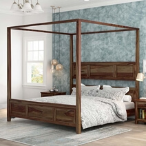 Irwin Contemporary Rustic Solid Wood Platform Canopy Bed