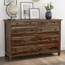Irvin Contemporary Rustic Solid Wood Bedroom Dresser With 10 Drawers