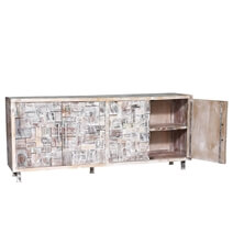 Nashville Farmhouse White Wash Reclaimed Wood Large Buffet Cabinet