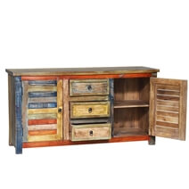 Truesdale Reclaimed Wood 3 Drawer Large Rustic Sideboard Cabinet