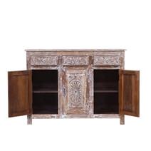 Vanduser Reclaimed Wood Hand Carved 3 Drawer Rustic Sideboard Cabinet
