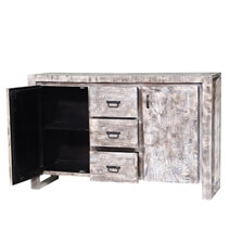 Wheaton White Wash Reclaimed Wood 3 Drawer Large Sideboard Cabinet