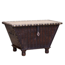 Palmer Rustic Reclaimed Wood Tapered Base Storage Coffee Table Trunk