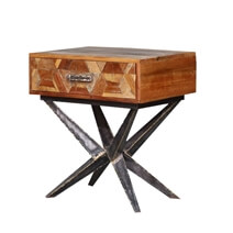 Langdon Reclaimed Wood Iron Spider Leg Industrial End Table