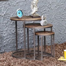 Rockleigh Reclaimed Wood Iron Nesting Tables (Set of 3)