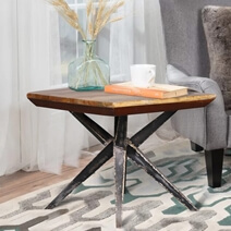 Lakota Reclaimed Wood Iron Spider Leg Industrial End Table