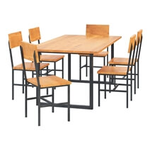 Karval Rustic Solid Wood 8 Piece Industrial Iron Dining Room Set