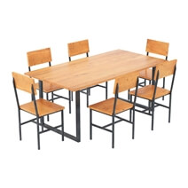 Karval Rustic Solid Wood Dining Table and Chair Set