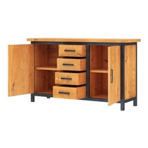 Karval Rustic Solid Wood 4 Drawer Industrial Large Sideboard Cabinet