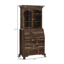 Jasper Tall Drop Front Solid Wood Home Office Secretary Desk With Hutch