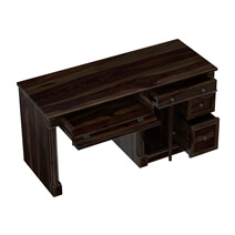 Perrinton Rustic Solid Wood 3 Drawer Home Office Computer Desk