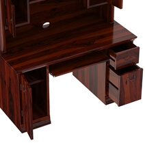 Brooten Rustic Solid Wood Home Office Computer Desk With Hutch