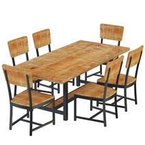 Salineno Rustic Mango Wood Industrial Dining Table and Chair Set