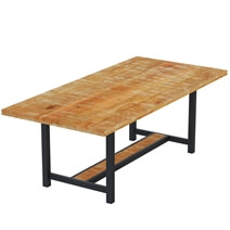 Salineno Rustic Mango Wood Industrial Dining Table