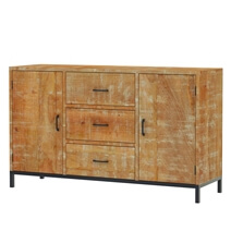 Salineno Rustic Mango Wood 3 Drawer Industrial Large Sideboard Cabinet