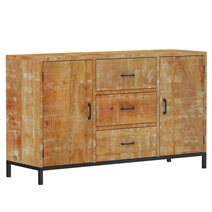 Salineno Rustic Mango Wood 3 Drawer Large Sideboard Cabinet