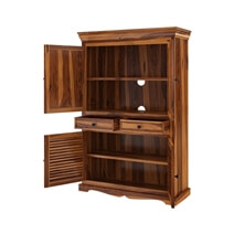 Tanay Louvered Doors Rustic Large Solid Wood TV Armoire Cabinet