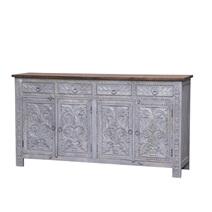 Selden Reclaimed Wood Handcarved 4 Drawer Large Sideboard