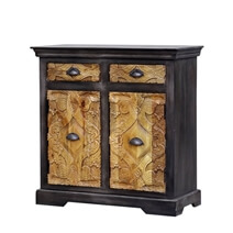 Toluca Reclaimed Wood Handcrafted Door 2 Drawer Small Sideboard