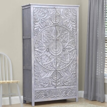 Tipton Hand Carved Reclaimed Wood Rustic Armoire