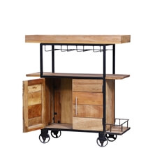 Carson Rustic Reclaimed Wood Industrial Rolling Wine Bar Cabinet