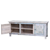 Argusville Rustic Reclaimed Wood Hand Carved Open Shelf TV Stand