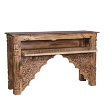 Haugen Reclaimed Wood Traditional Hand Carved Console Table