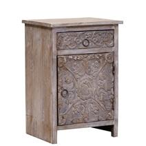 Dufur Reclaimed Wood Hand Carved Door 1 Drawer Rustic Nightstand