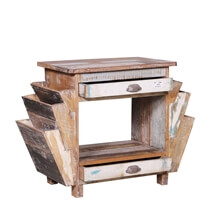 Ames Rustic Reclaimed Wood End Table With Double Magazine Rack