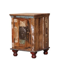 Boynton Handcrafted Buddha Brass Inlay Door Reclaimed Wood Nightstand