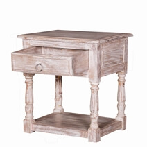 Burgin Grey Wash Reclaimed Wood 1 Drawer End Table
