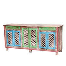 Arnot Multicolor Reclaimed Wood Lattice Door Large Sideboard Cabinet