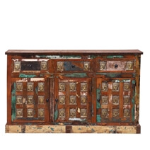 Boynton Handcrafted Buddha Brass Inlay Reclaimed Wood Sideboard