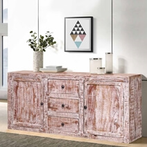 Bernville Distressed Reclaimed Wood 3 Drawer Rustic Sideboard Cabinet