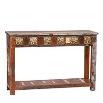 Hazelton Reclaimed Wood Elephant Brass Inlay Console Table