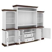 Morven Two Tone Solid Wood Entertainment Center with Bookshelves