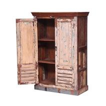 Fairgrove Rustic Reclaimed Wood Shutter Door Armoire With Shelves