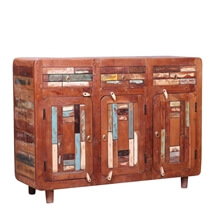 Bonnieville Handcrafted Mosaic Inlay 3 Drawer Reclaimed Wood Sideboard