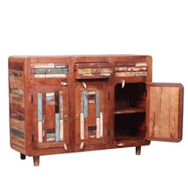Bonnieville Reclaimed Wood Mosaic Inlay 3 Drawer Rustic Sideboard