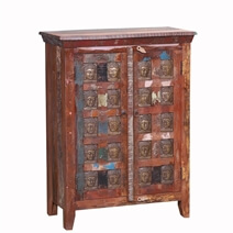 Winifred Reclaimed Wood Buddha Brass Inlay Storage Cabinet