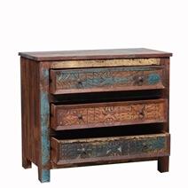 Tomales Hand Carved Reclaimed Wood 3 Drawer Bedroom Dresser