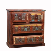 Boynton Handcrafted Buddha Brass Inlay Reclaimed Wood 4 Drawer Dresser