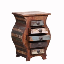 Sunol Curved Rustic Reclaimed Wood End Table