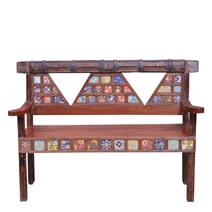 Frederica Mosaic Tile Reclaimed Wood Bench with Iron Beam