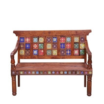 Frederica Mosaic Tile Reclaimed Wood Bench with Painted Floral Design